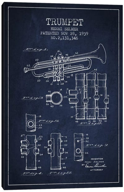 Trumpet Navy Blue Patent Blueprint Canvas Art Print