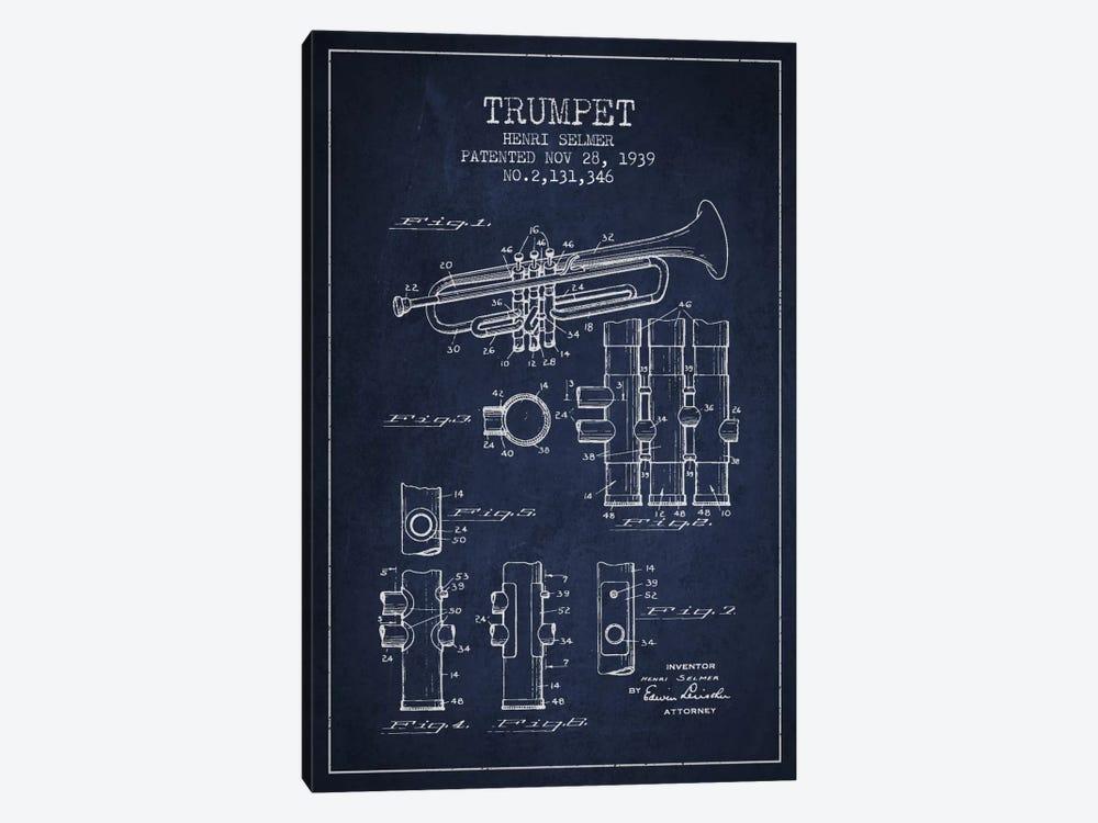 Trumpet Navy Blue Patent Blueprint by Aged Pixel 1-piece Canvas Print