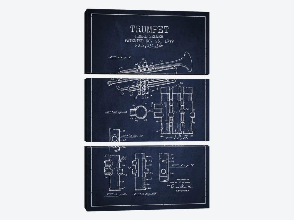 Trumpet Navy Blue Patent Blueprint by Aged Pixel 3-piece Canvas Art Print