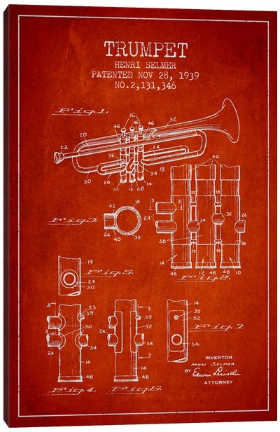 Trumpet Red Patent Blueprint Canvas Print #ADP857