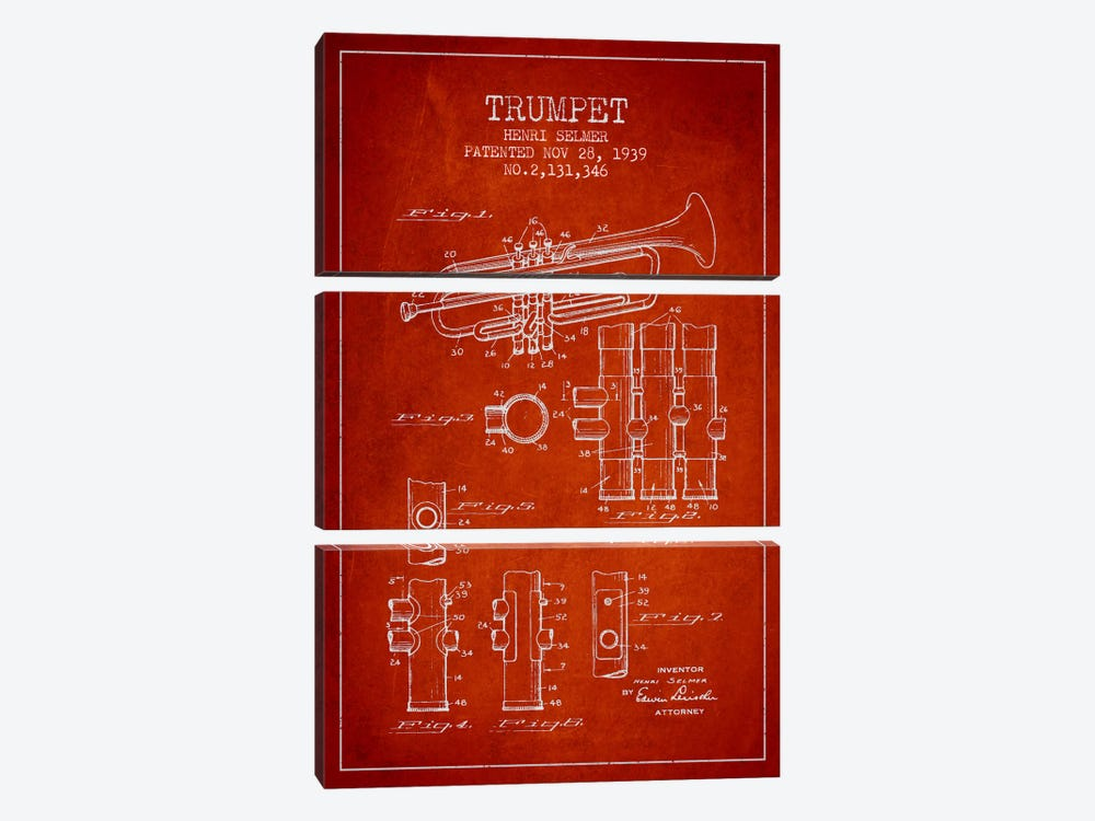 Trumpet Red Patent Blueprint by Aged Pixel 3-piece Canvas Wall Art