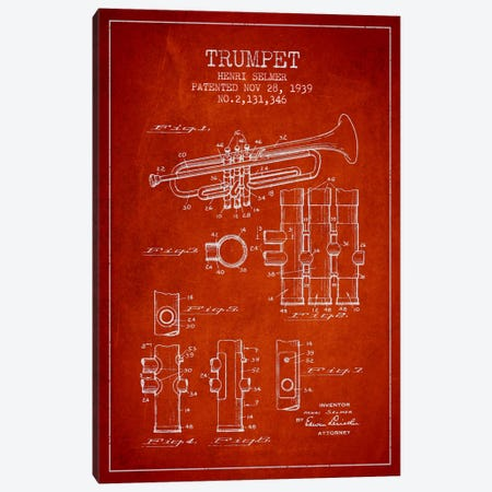 Trumpet Red Patent Blueprint Canvas Print #ADP857} by Aged Pixel Art Print