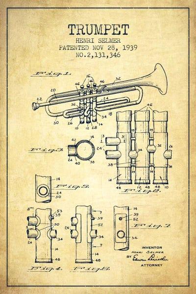 Trumpet vintage patent blueprint canvas artwork by aged pixel icanvas canvas malvernweather Images