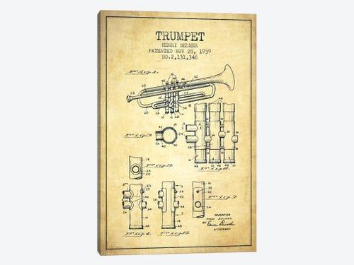 Trumpet vintage patent blueprint canvas artwork by aged pixel icanvas trumpet vintage patent blueprint 1 piece canvas art print malvernweather Image collections