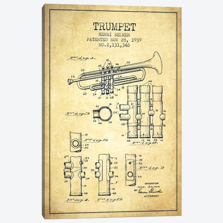 Trumpet Vintage Patent Blueprint Canvas Print #ADP858} by Aged Pixel Canvas Wall Art
