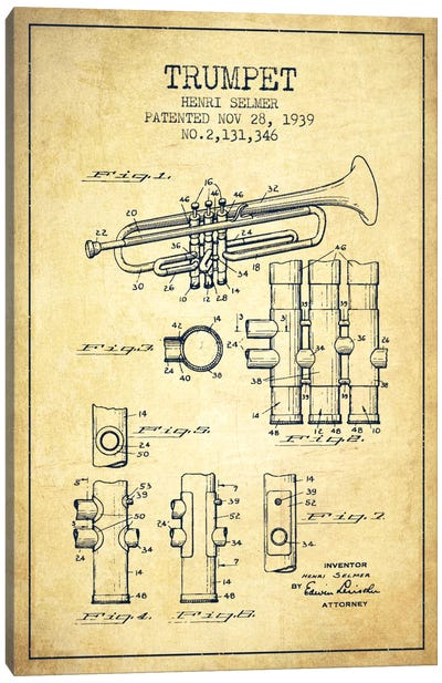Trumpet Vintage Patent Blueprint Canvas Art Print