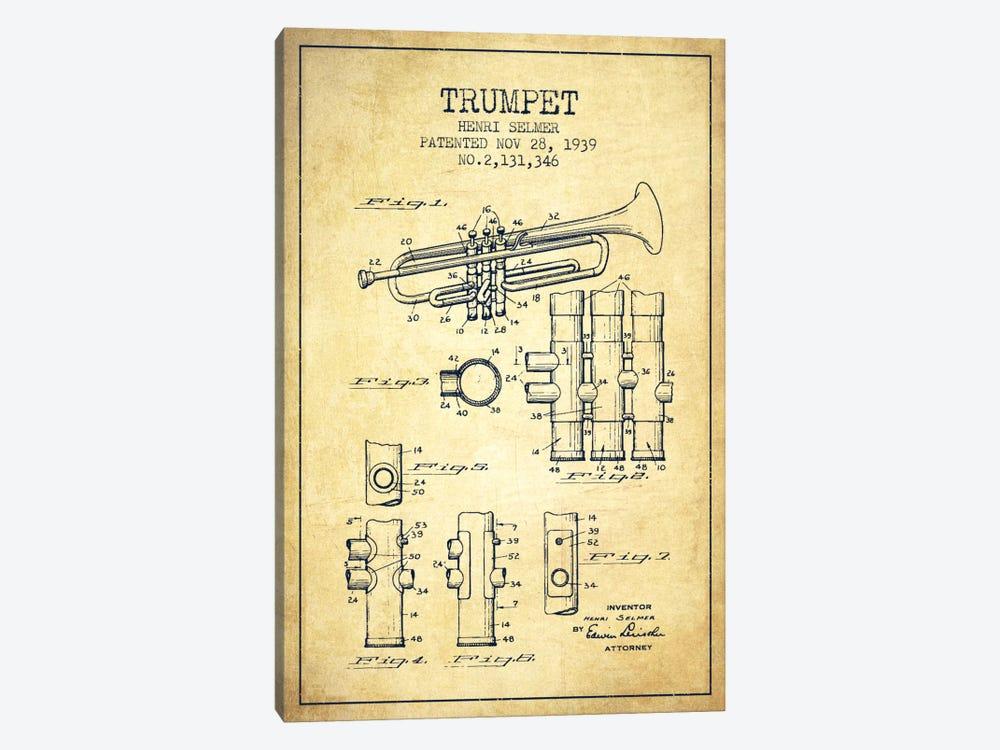 Trumpet Vintage Patent Blueprint by Aged Pixel 1-piece Canvas Art Print