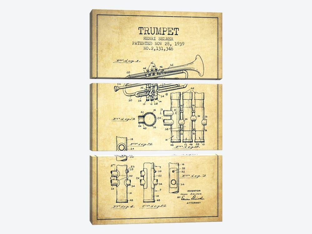 Trumpet Vintage Patent Blueprint by Aged Pixel 3-piece Canvas Art Print