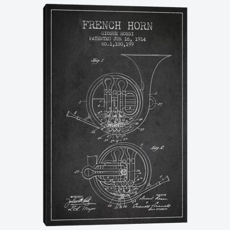 Horn Charcoal Patent Blueprint Canvas Print #ADP859} by Aged Pixel Canvas Wall Art