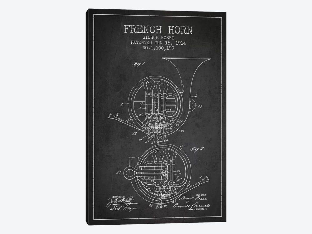 Horn Charcoal Patent Blueprint by Aged Pixel 1-piece Canvas Art