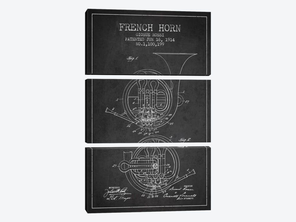 Horn Charcoal Patent Blueprint by Aged Pixel 3-piece Canvas Art
