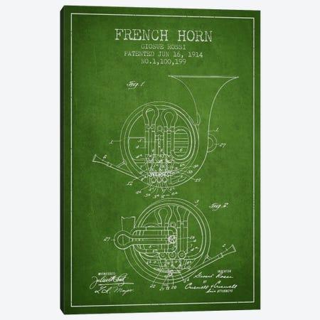Horn Green Patent Blueprint Canvas Print #ADP860} by Aged Pixel Art Print