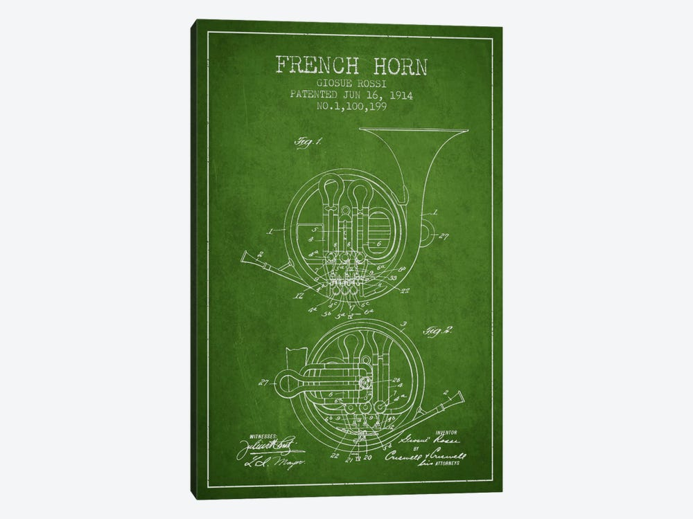 Horn Green Patent Blueprint by Aged Pixel 1-piece Canvas Art