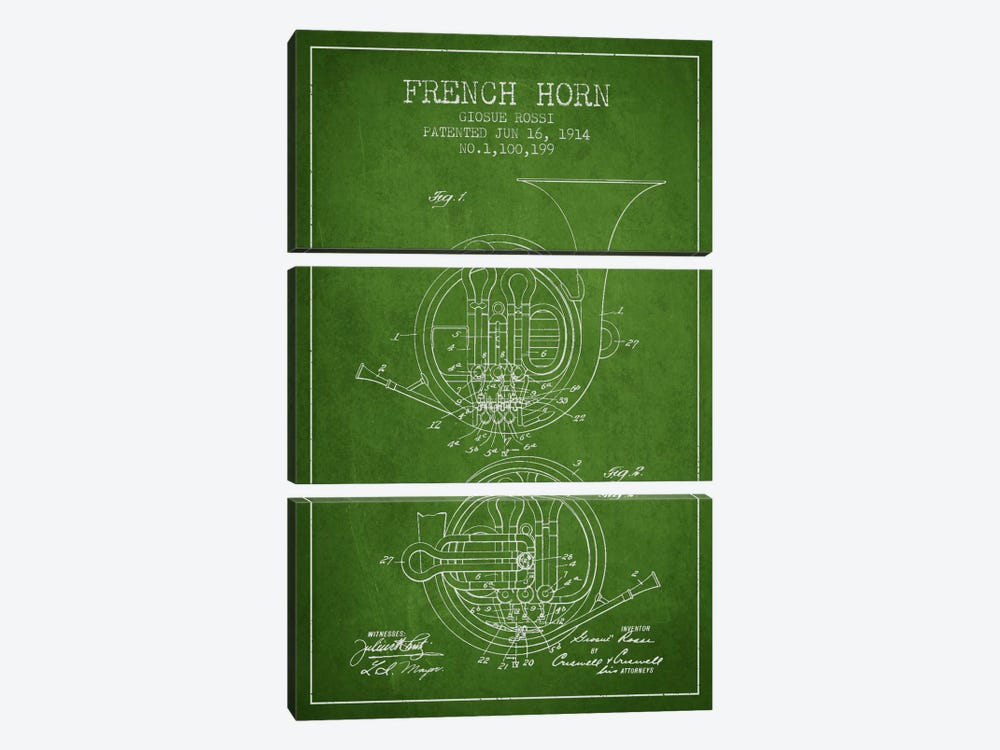 Horn Green Patent Blueprint by Aged Pixel 3-piece Canvas Art