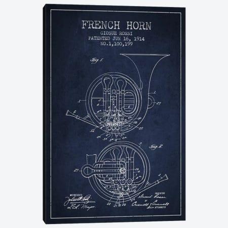 Horn Navy Blue Patent Blueprint Canvas Print #ADP861} by Aged Pixel Canvas Art Print