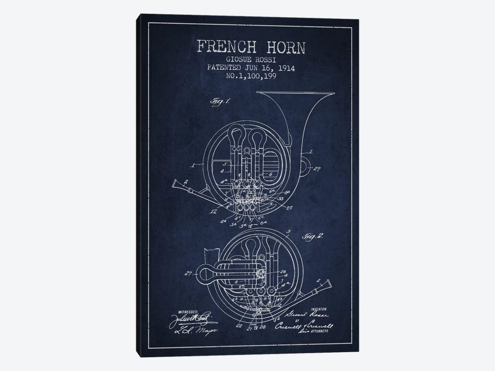Horn Navy Blue Patent Blueprint by Aged Pixel 1-piece Art Print