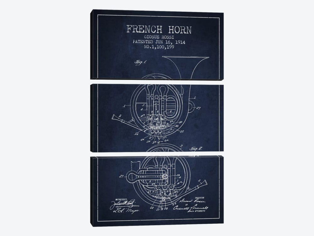 Horn Navy Blue Patent Blueprint by Aged Pixel 3-piece Canvas Art Print