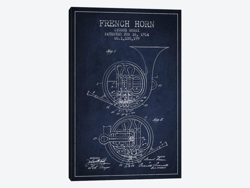 Horn Navy Blue Patent Blueprint by Aged Pixel 1-piece Art Print