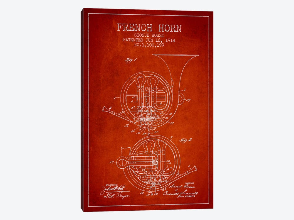 Horn Red Patent Blueprint by Aged Pixel 1-piece Canvas Artwork