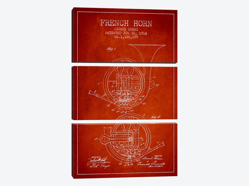 Horn Red Patent Blueprint by Aged Pixel 3-piece Canvas Art