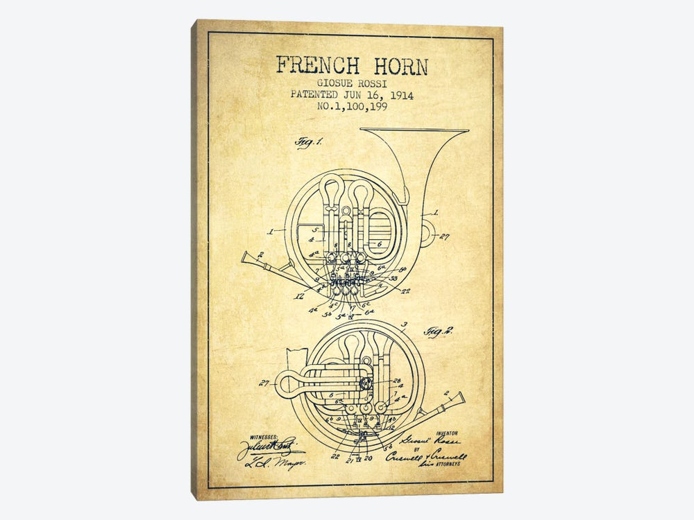 Horn Vintage Patent Blueprint by Aged Pixel 1-piece Canvas Art Print
