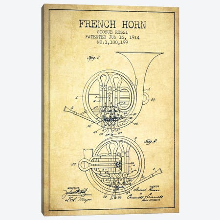 Horn Vintage Patent Blueprint Canvas Print #ADP863} by Aged Pixel Canvas Art Print