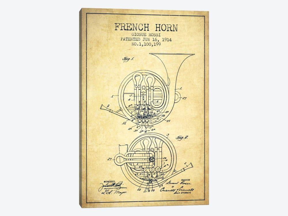 Horn Vintage Patent Blueprint by Aged Pixel 1-piece Canvas Art Print
