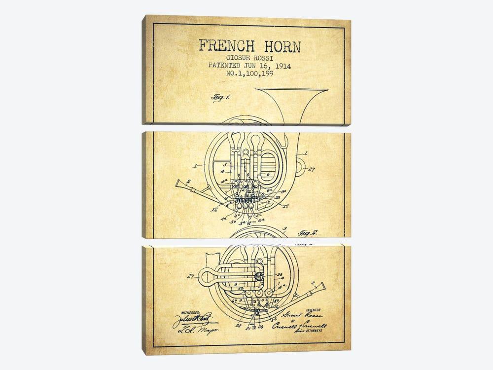 Horn Vintage Patent Blueprint by Aged Pixel 3-piece Art Print