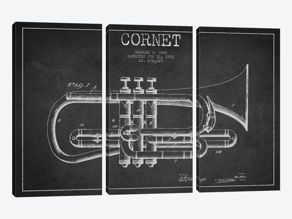Cornet Charcoal Patent Blueprint by Aged Pixel 3-piece Canvas Wall Art