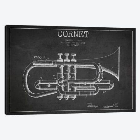 Cornet Charcoal Patent Blueprint Canvas Print #ADP864} by Aged Pixel Canvas Art