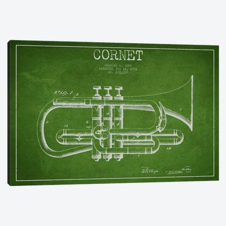 Cornet Green Patent Blueprint Canvas Print #ADP865} by Aged Pixel Canvas Artwork