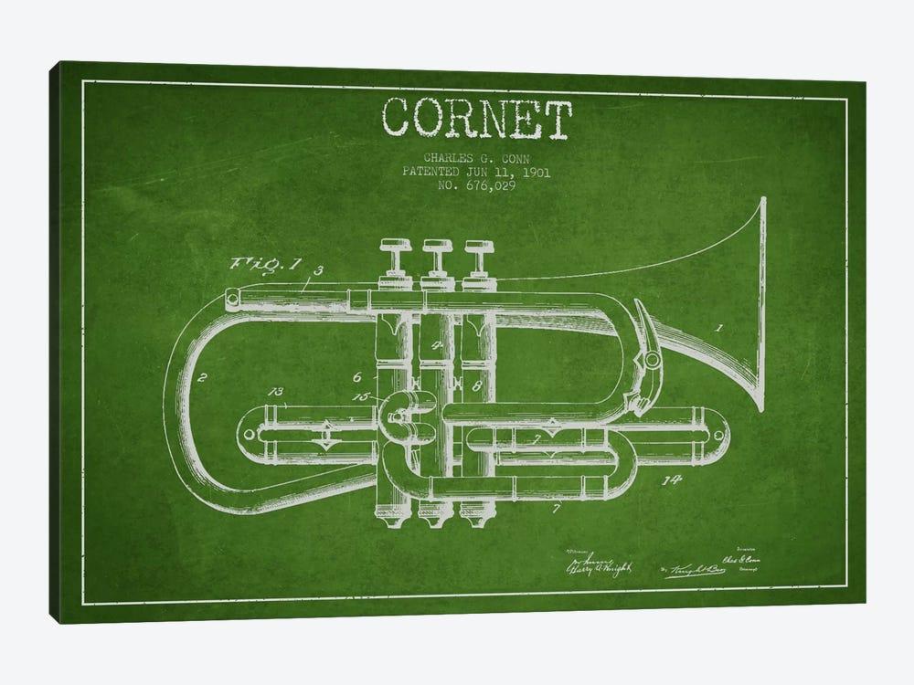 Cornet Green Patent Blueprint by Aged Pixel 1-piece Art Print