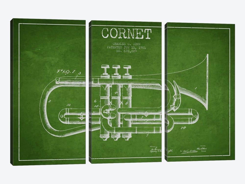 Cornet Green Patent Blueprint by Aged Pixel 3-piece Canvas Print