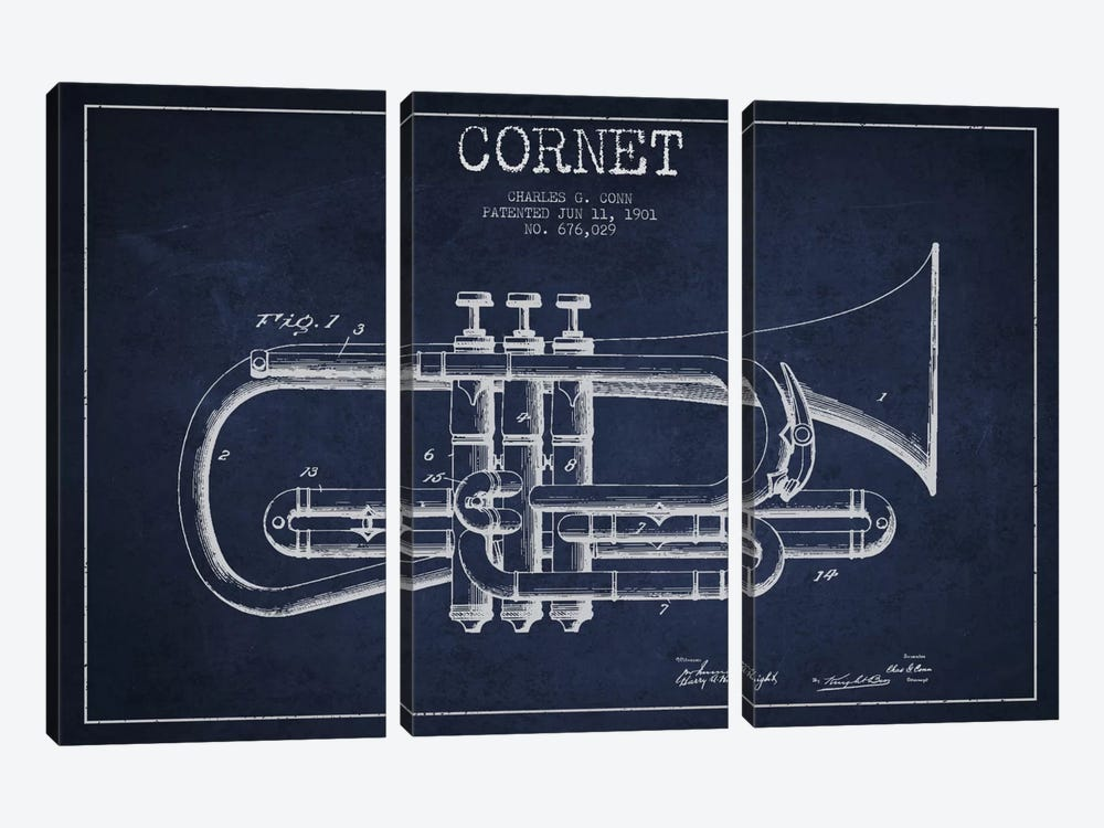 Cornet Navy Blue Patent Blueprint by Aged Pixel 3-piece Canvas Art