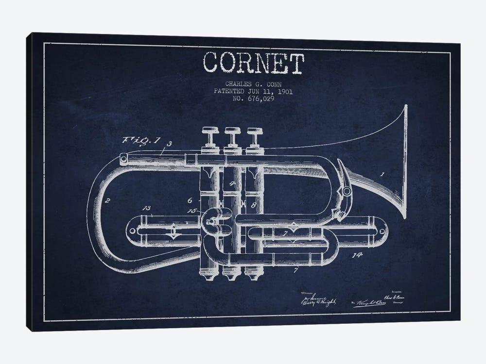 Cornet Navy Blue Patent Blueprint by Aged Pixel 1-piece Canvas Artwork