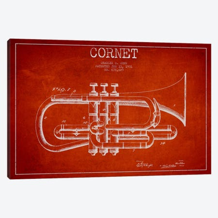 Cornet Red Patent Blueprint Canvas Print #ADP867} by Aged Pixel Canvas Artwork