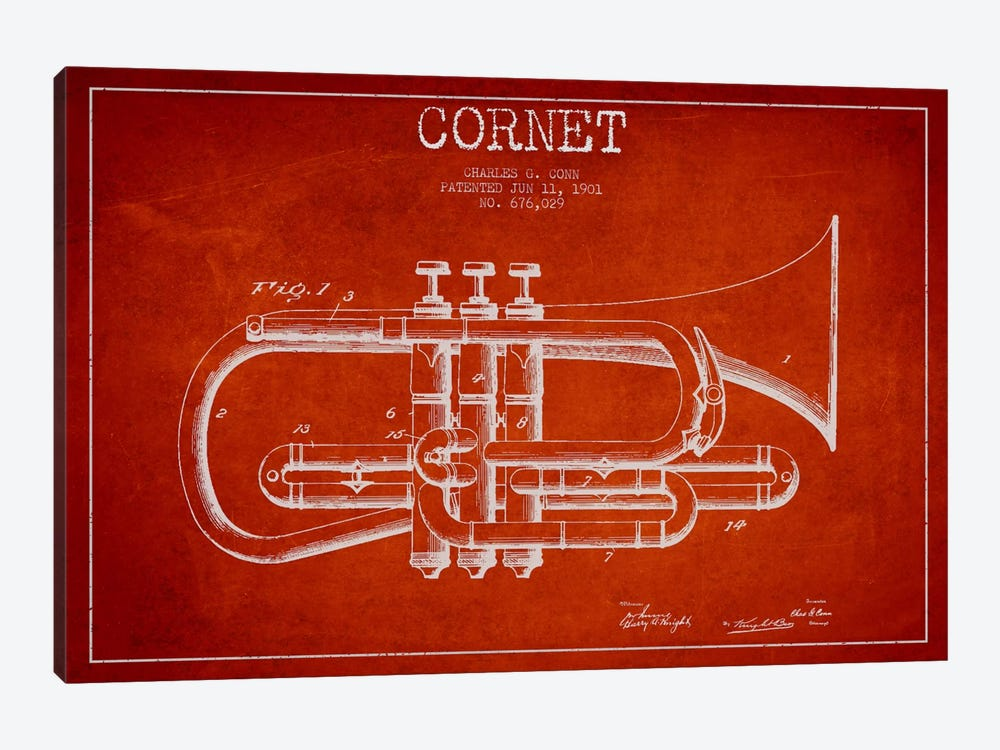 Cornet Red Patent Blueprint by Aged Pixel 1-piece Canvas Art Print