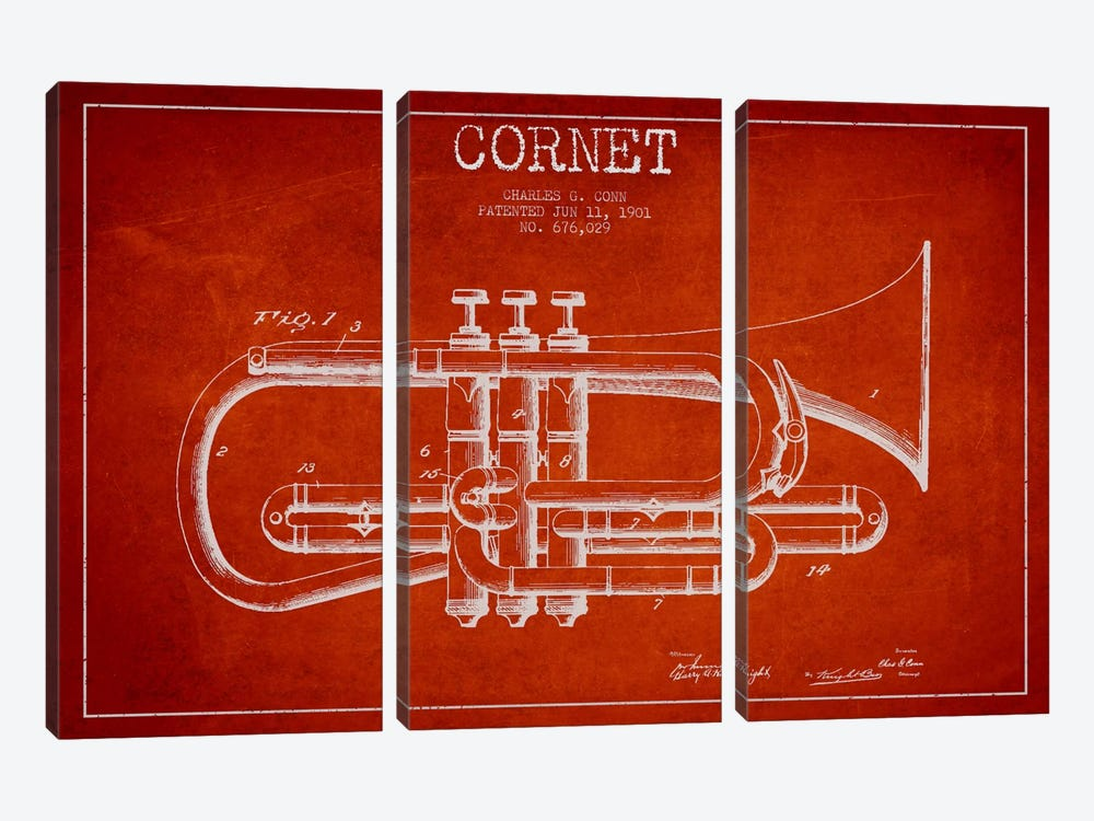 Cornet Red Patent Blueprint by Aged Pixel 3-piece Art Print