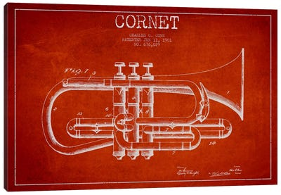 Cornet Red Patent Blueprint Canvas Art Print