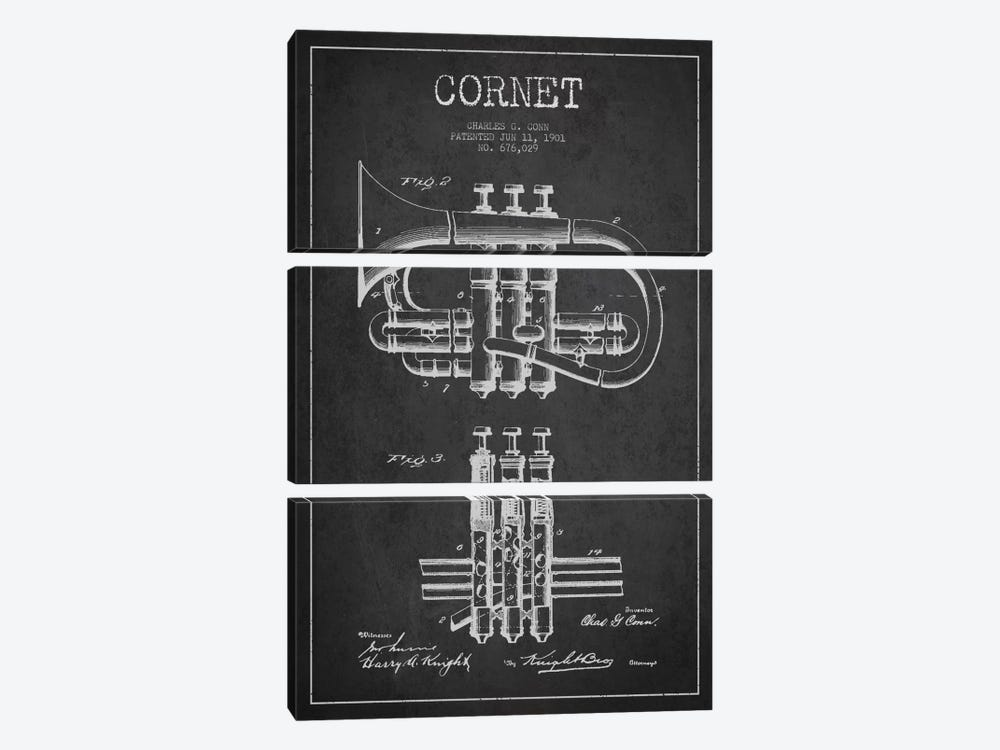 Cornet Charcoal Patent Blueprint by Aged Pixel 3-piece Canvas Print