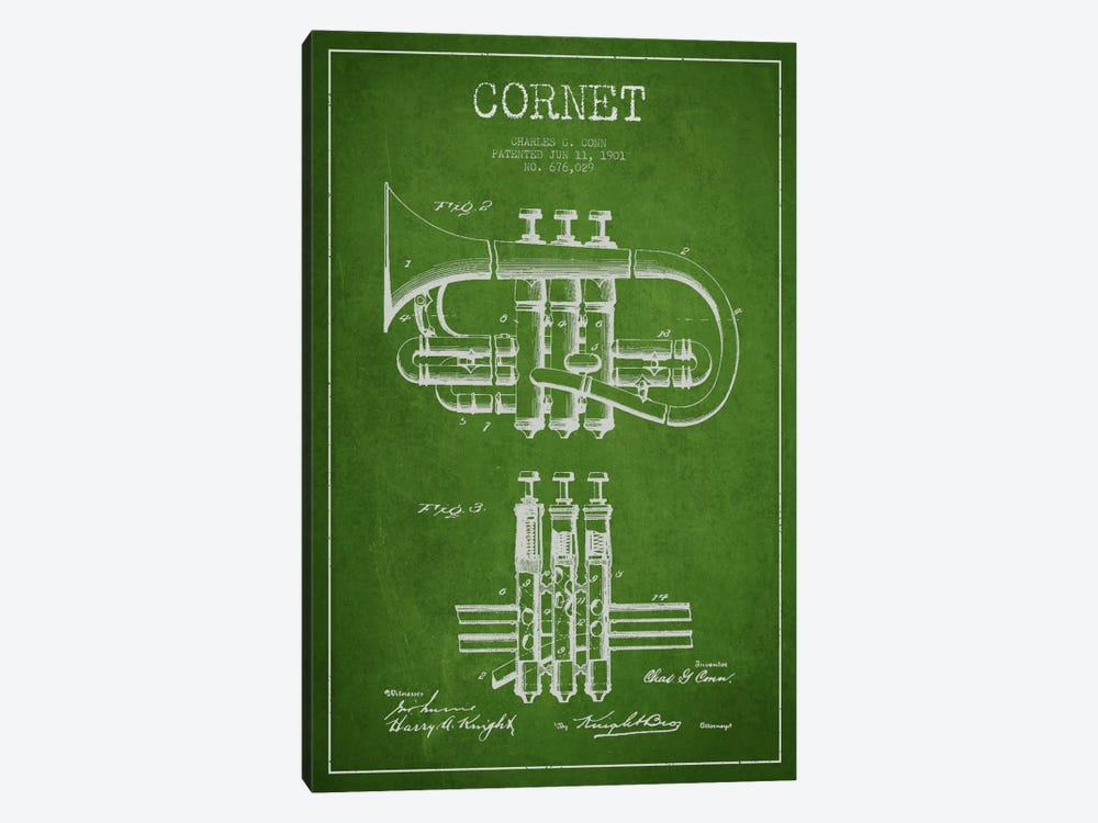 Cornet Green Patent Blueprint by Aged Pixel 1-piece Canvas Print