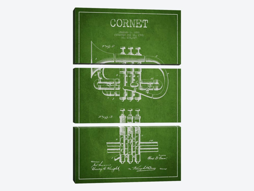 Cornet Green Patent Blueprint by Aged Pixel 3-piece Canvas Art Print