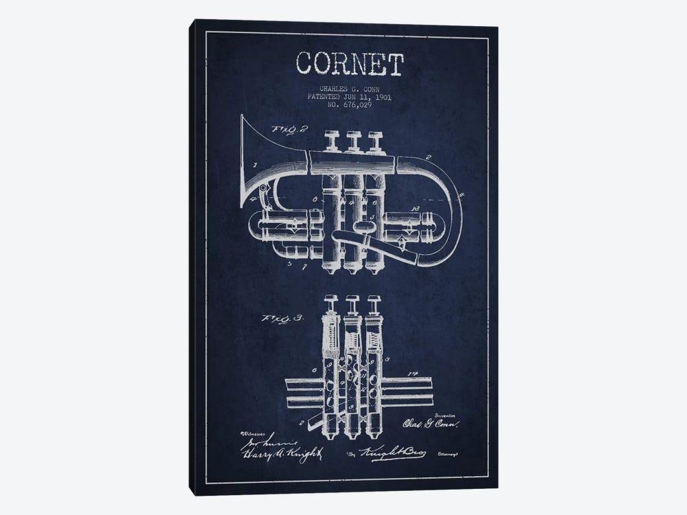 Cornet Navy Blue Patent Blueprint by Aged Pixel 1-piece Canvas Art