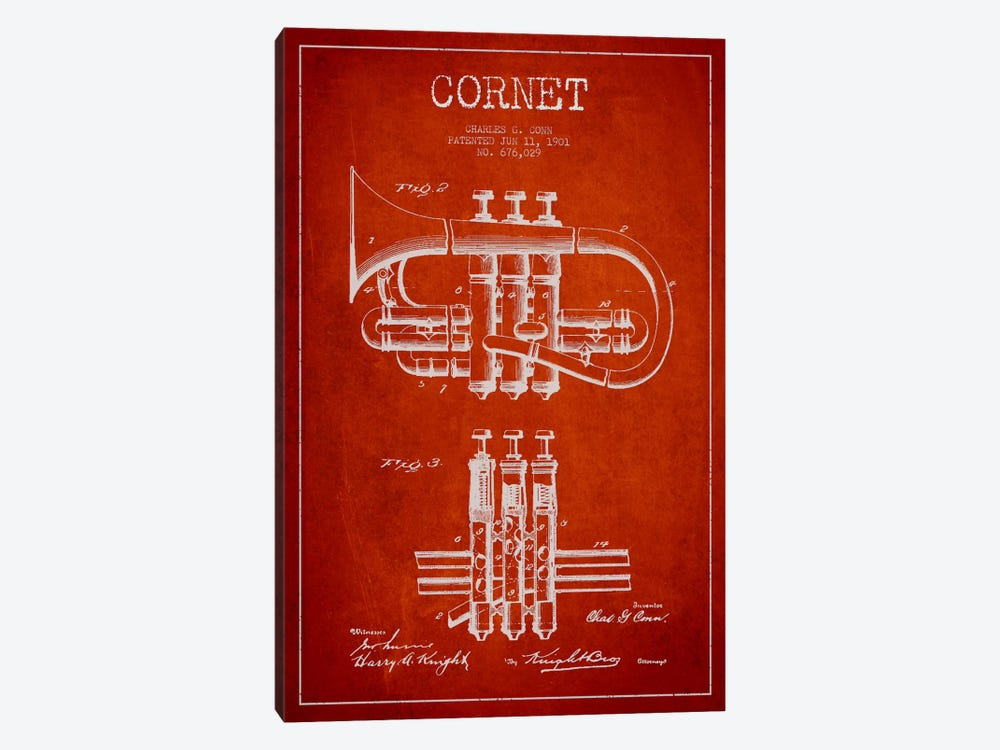 Cornet Red Patent Blueprint by Aged Pixel 1-piece Art Print