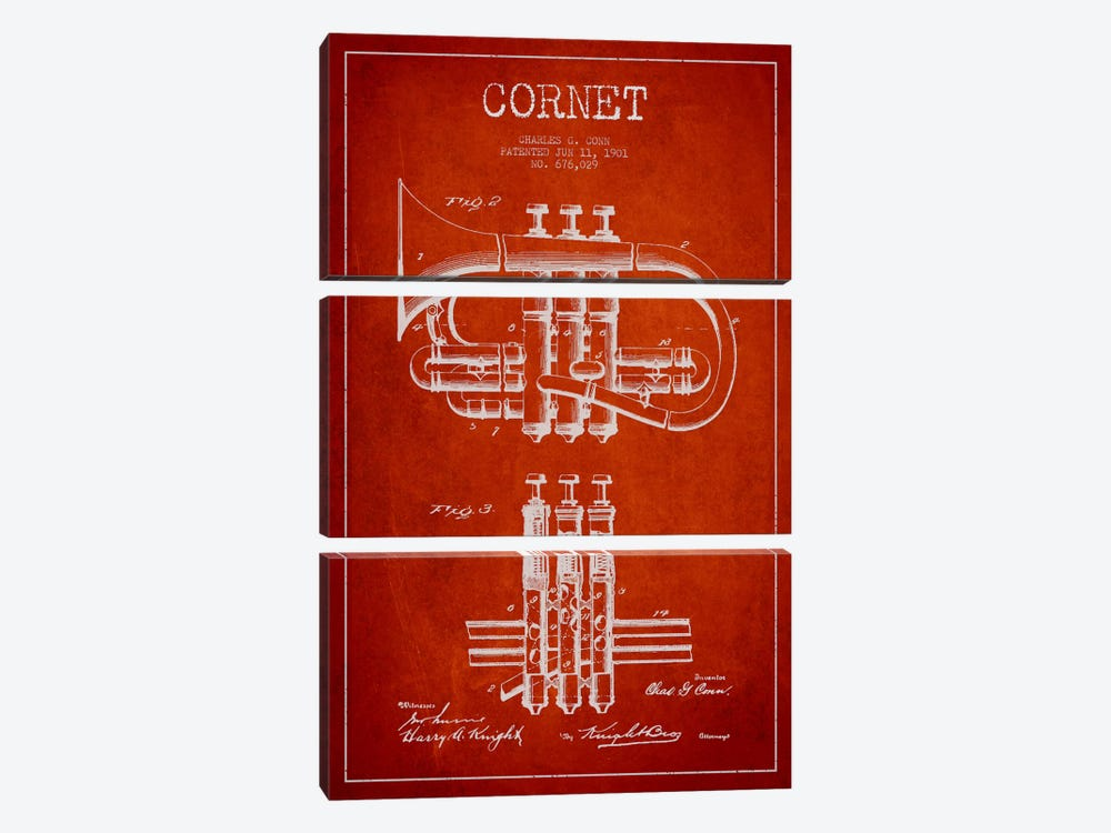 Cornet Red Patent Blueprint by Aged Pixel 3-piece Canvas Print