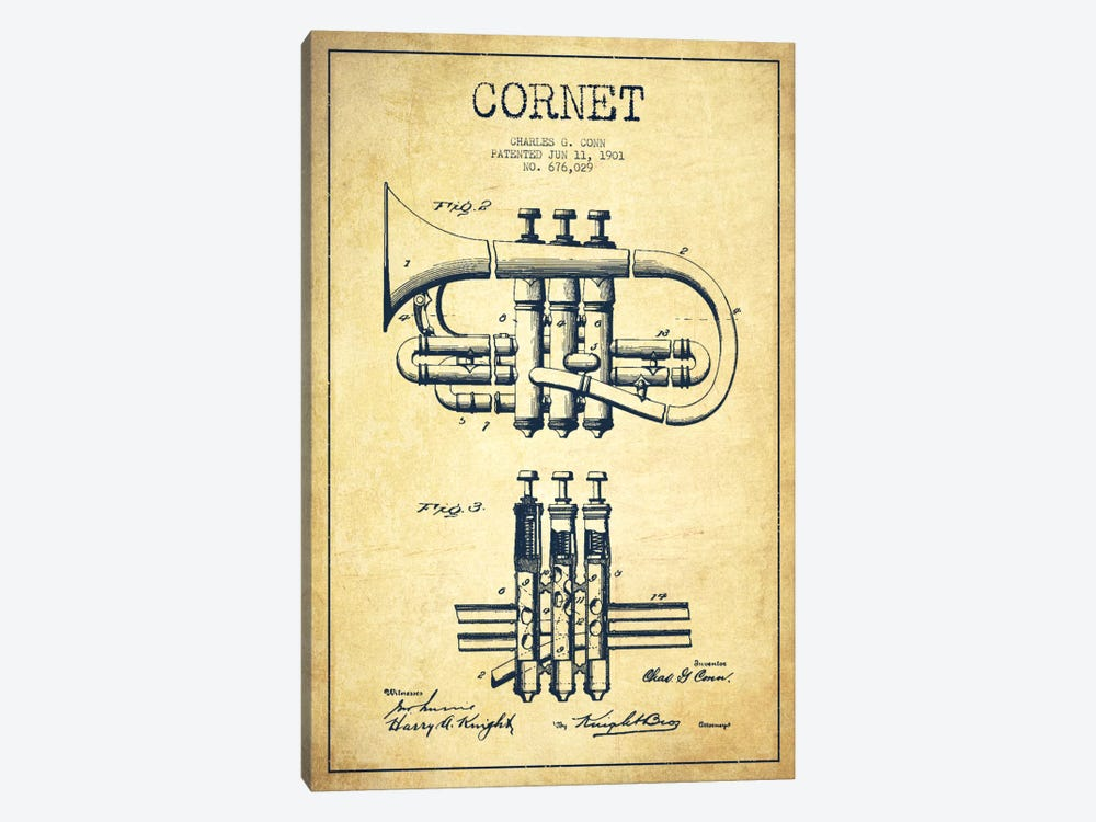 Cornet Vintage Patent Blueprint 1-piece Canvas Art