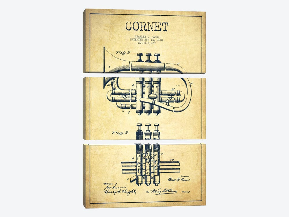 Cornet Vintage Patent Blueprint by Aged Pixel 3-piece Canvas Art