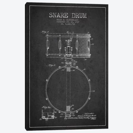 Drum Charcoal Patent Blueprint Canvas Print #ADP874} by Aged Pixel Canvas Print