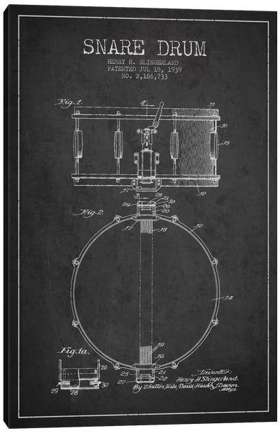 Drum Charcoal Patent Blueprint Canvas Print #ADP874