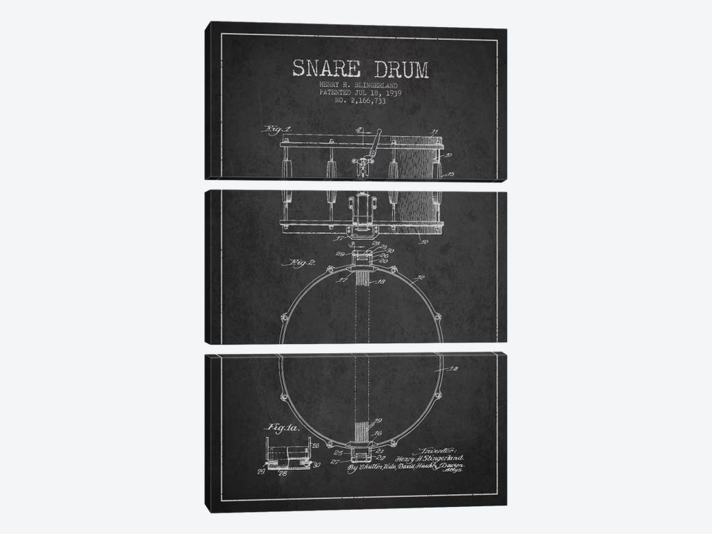 Drum Charcoal Patent Blueprint by Aged Pixel 3-piece Canvas Print